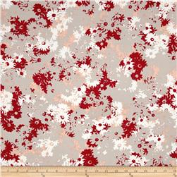 Designer Rayon Challis Abstract Floral Taupe/Red