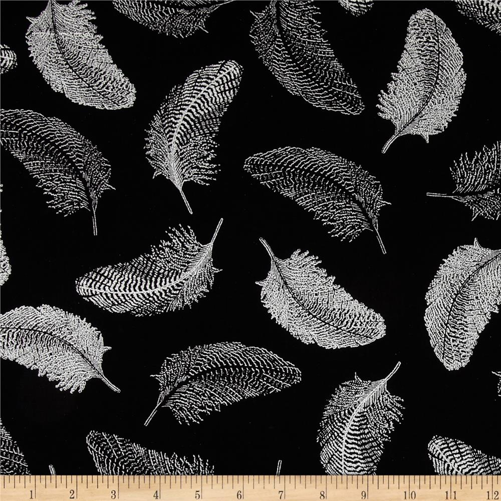 Simply Sterling Metallic Feather Black/Silver