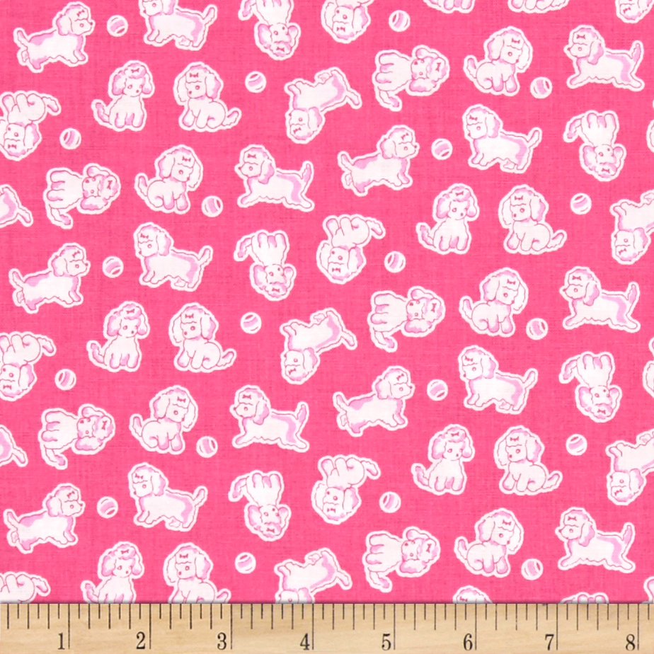 Penny Rose Strawberry Biscuit Poodle Hot Pink Fabric