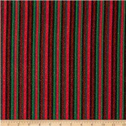 Christmas Morning Metallic Stripe Black/Red/Green