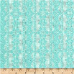 Designer Stretch Lace Striped Mint