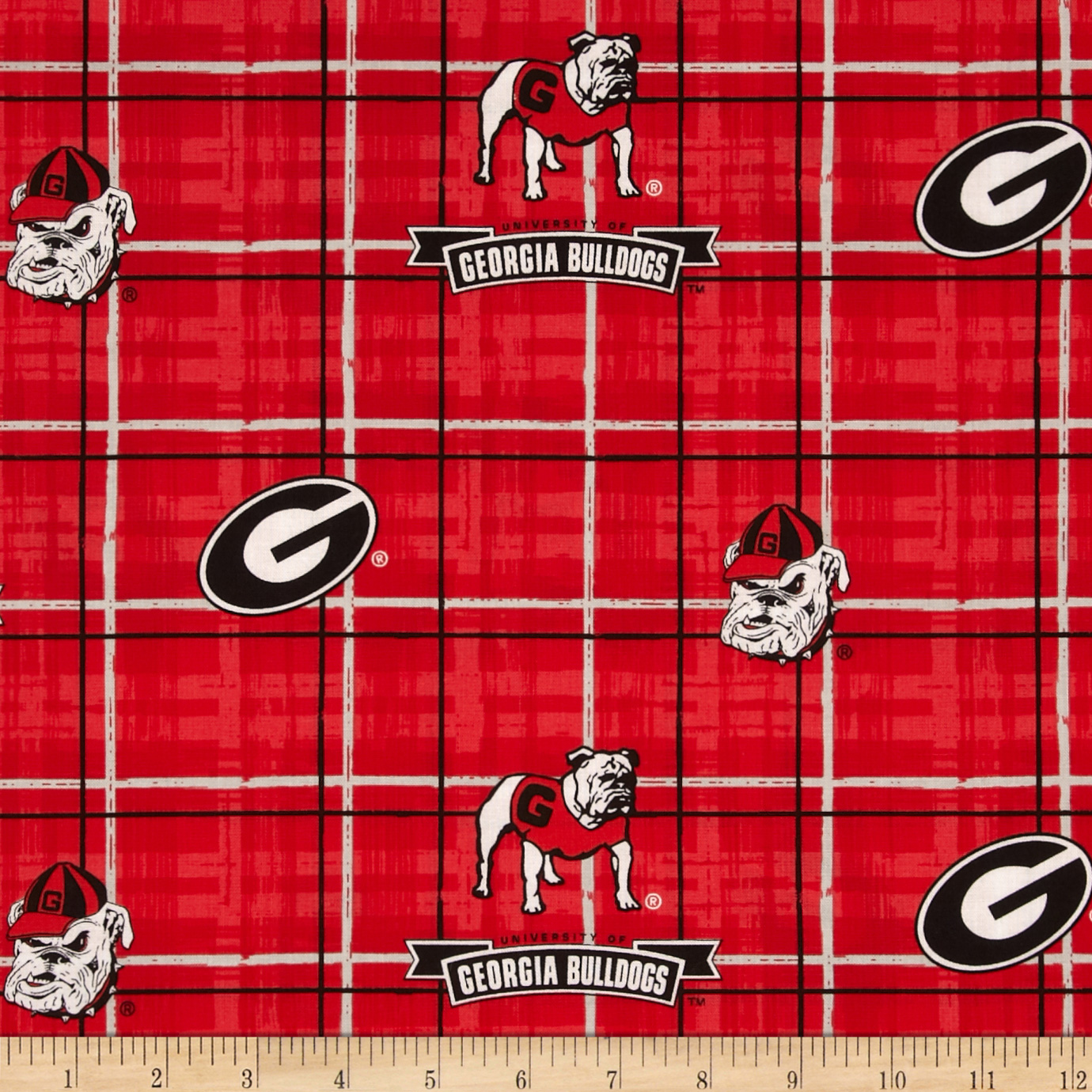 Collegiate Cotton Broadcloth University of Georgia Plaid Red/Black Fabric by Sykel in USA