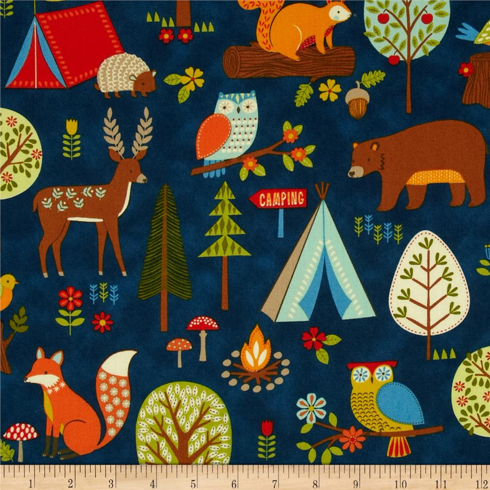 Camp Cozy Animal Camp Out Blue