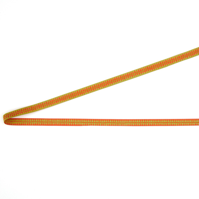 3/8'' Sue Spargo Orange Diamonds On Green Ribbon
