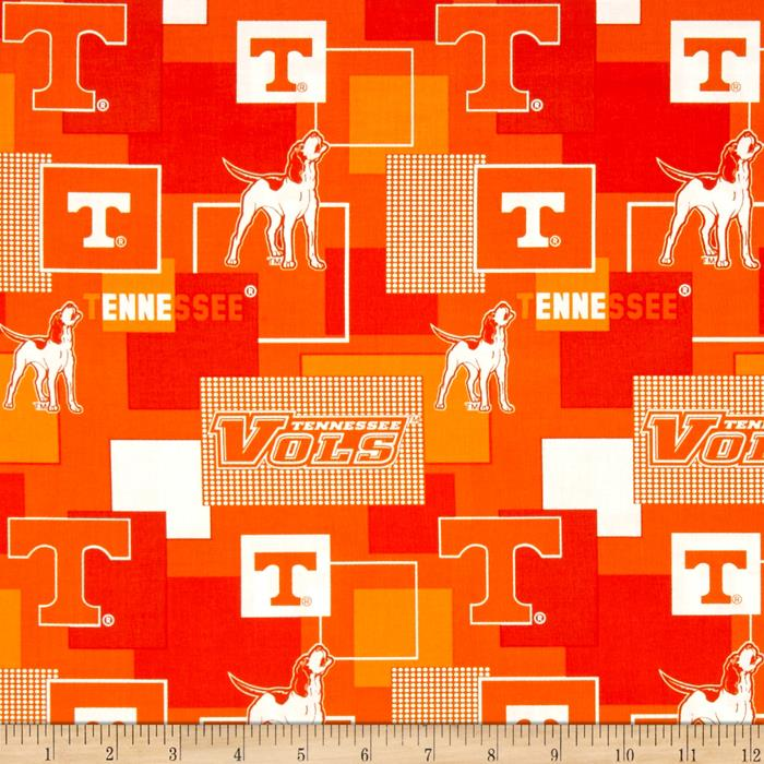 Collegiate Cotton Broadcloth University Of Tennessee Block Print
