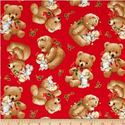 Christmas Angels Metallic Teddy Bear Red
