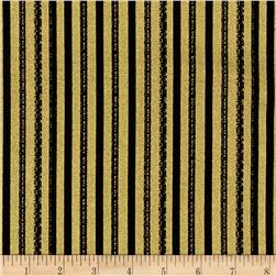 Happy Holidays Metallic Texture Stripe Black