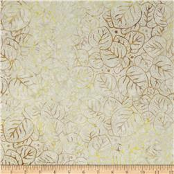 "106"" Wide Batavian Batiks Quilt Backing Packed Leaves Ivory/Tan"