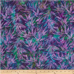 Island Batik Stairway to Heaven Teal/Fuchsia Leaves
