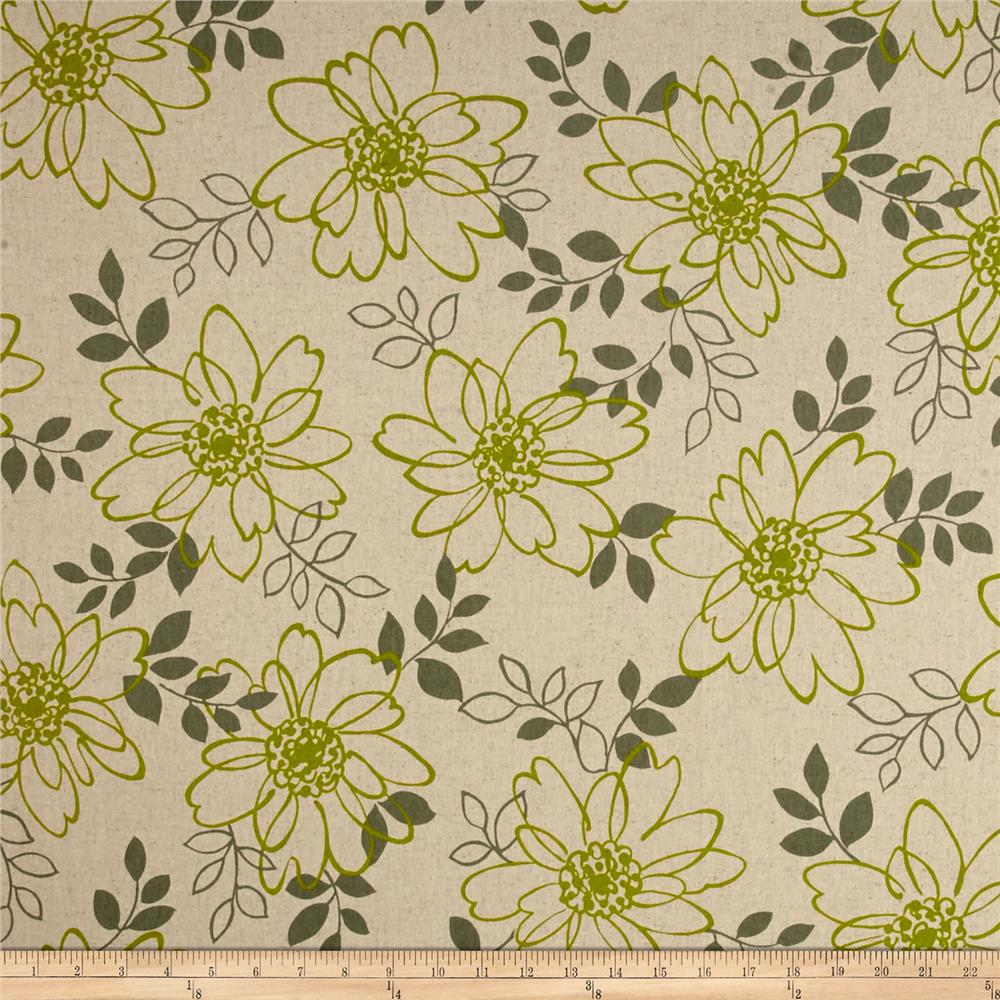Kaufman Sevenberry Canvas Cotton Flax Prints Flowers Lime