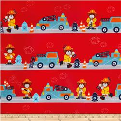 Flannel Bear Firefighters & Firetrucks Red