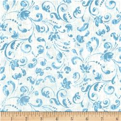 Timeless Treasures Santorini Floral Scroll Aqua