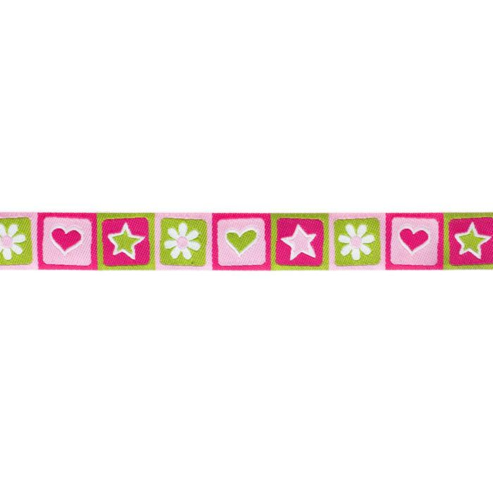 7/8'' Ribbon Hearts & Stars Green/Pink