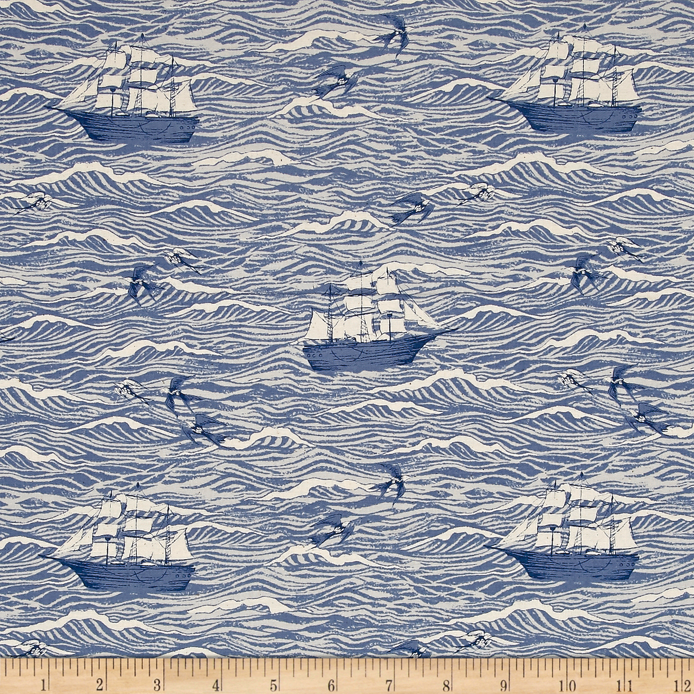 Image of Cotton + Steel S.S. Bluebird Out To Sea Blue Fabric