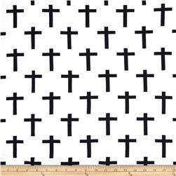Cotton Spandex Jersey Knit Crosses Ivory/Black
