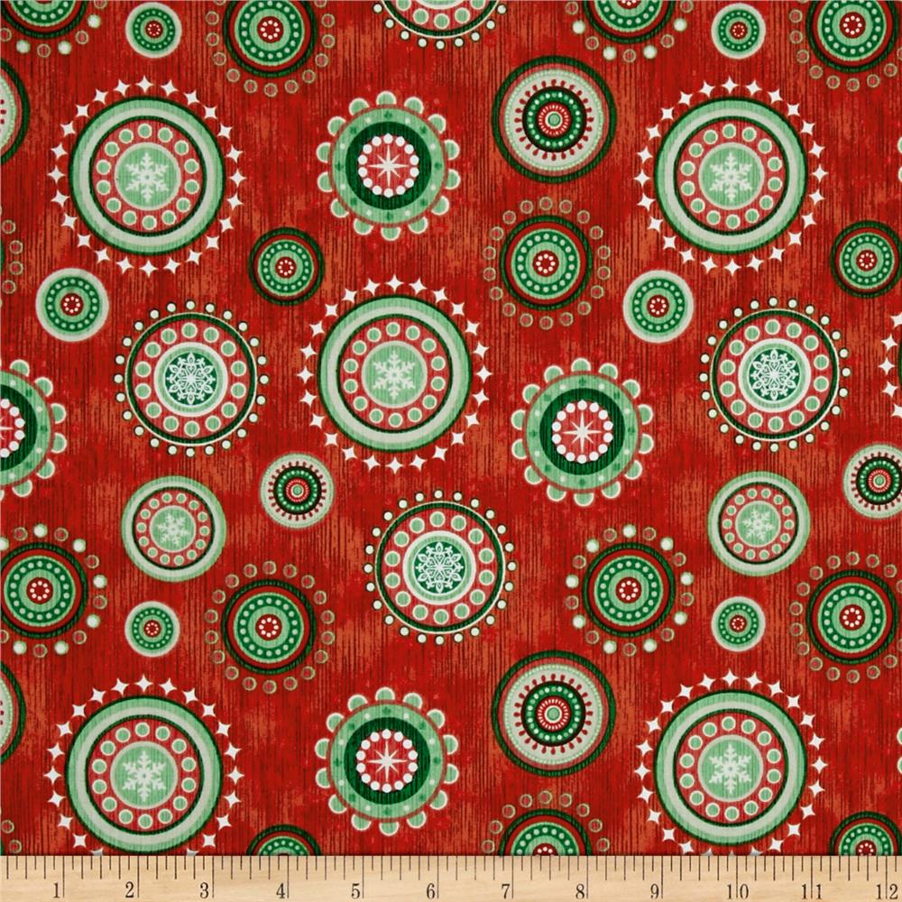Santa Coming To Town Christmas Medallions Light Red
