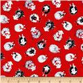 Timeless Treasures Flannel Knitting Sheep Mini Knitting Sheep Red