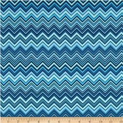 Valori Wells Novella Sateen Zigzag Blue Fabric