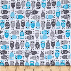Kaufman Urban Zoology Mini Flannel Owls Grey