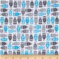 Robert Kaufman Urban Zoologie Mini Flannel Owls Grey