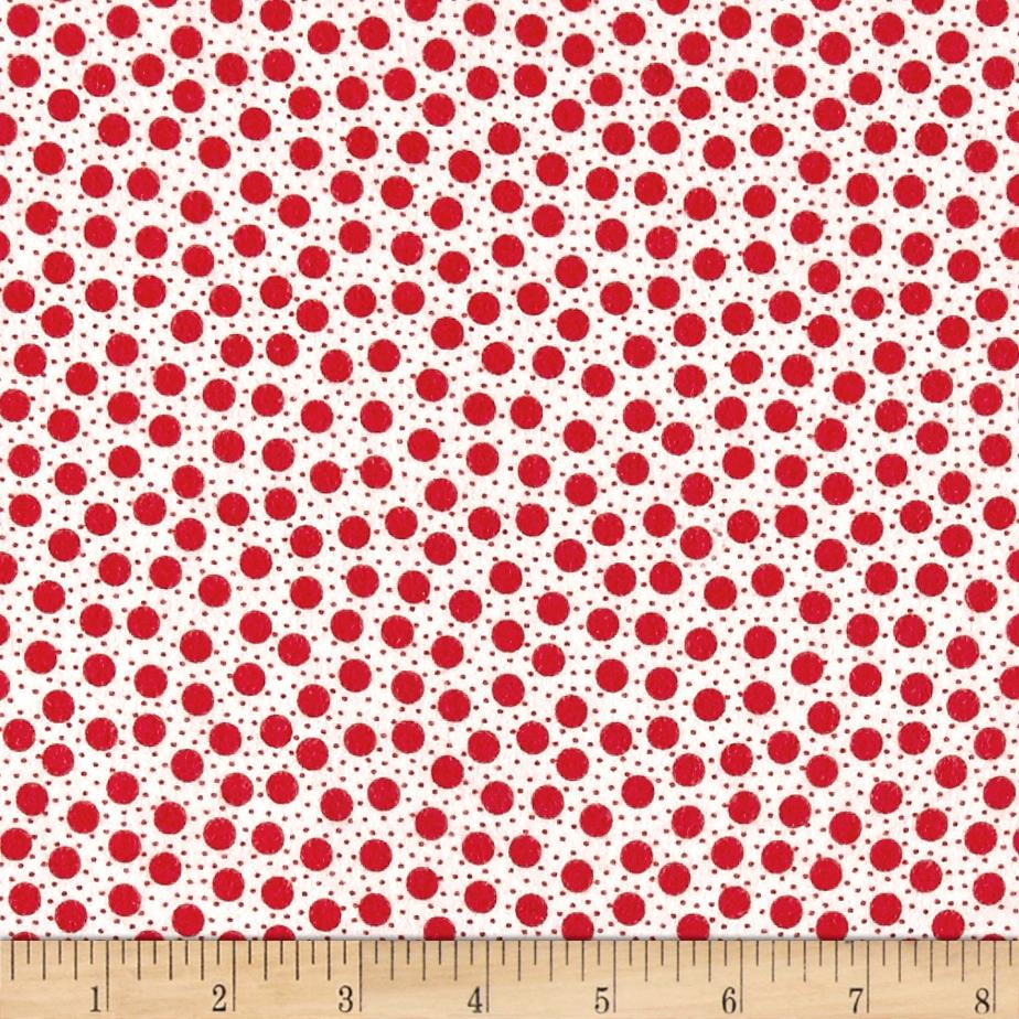 Moda Red Dot Green Dash Brushed Cottons Snow Storm Winterwhite/Red Fabric