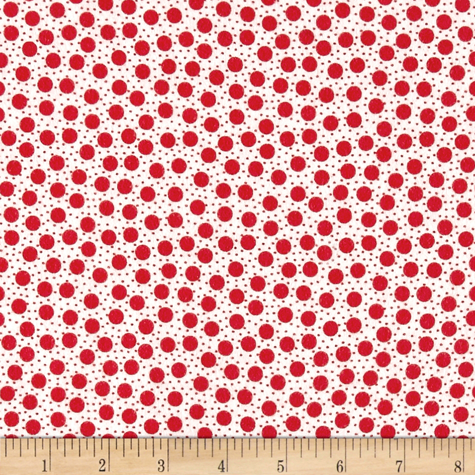 Moda Red Dot Green Dash Brushed Cottons Snow Storm Winterwhite/Red Fabric 0517886
