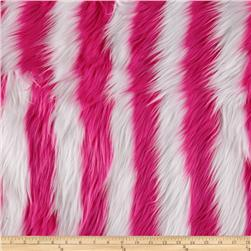 Fun Shag Faux Fur Ribbon Stripes Hot Pink/White