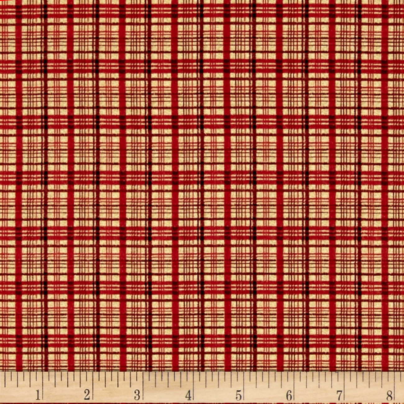 Image of A Cat For Every Season Cat Nap Plaid Red Fabric