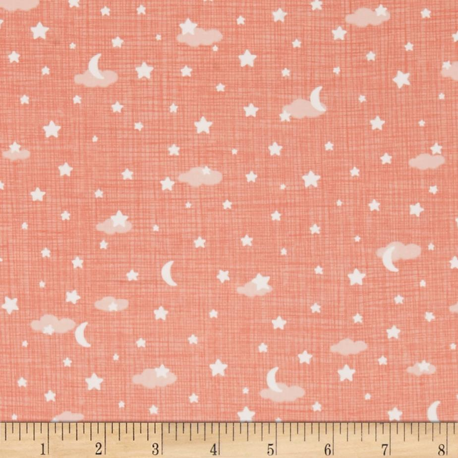 Moda lullaby night sky peach discount designer fabric for Night sky print fabric