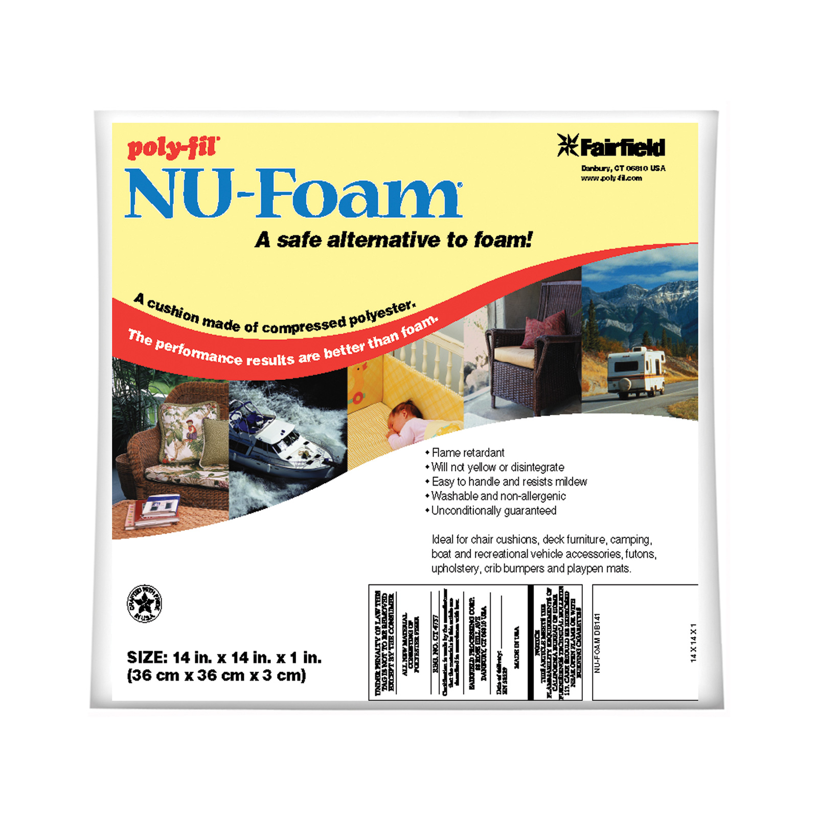 Fairfield Poly-Fil Nu-Foam 14'' x 14'' x 1