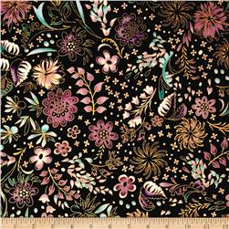 Kaufman Lumina Metallics Floral Bouquet Charcoal