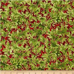 Kaufman Holiday Flourish Metallics Large Leaves Holiday