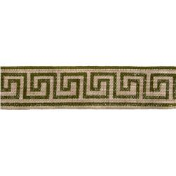 "2 3/8"" Burlap Trim Greek Key Olive Green"