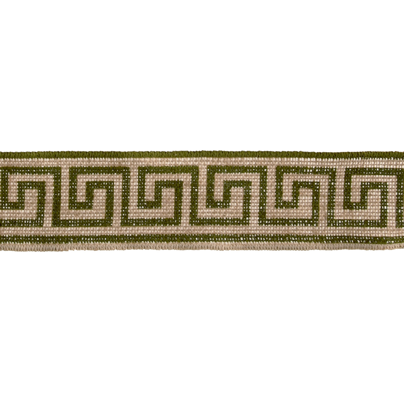 2 3/8'' Burlap Trim Greek Key Olive Green