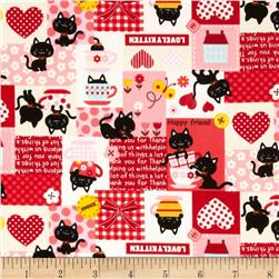 Kokka Lovely Kitten Patchwork Red