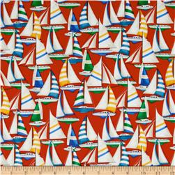 Sail Away Sailboats Allover Red