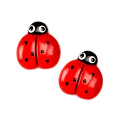 Novelty Button 5/8'' Ladybug Red