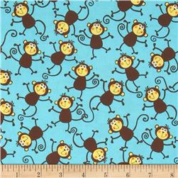 At the Zoo Tossed Monkeys Blue Fabric