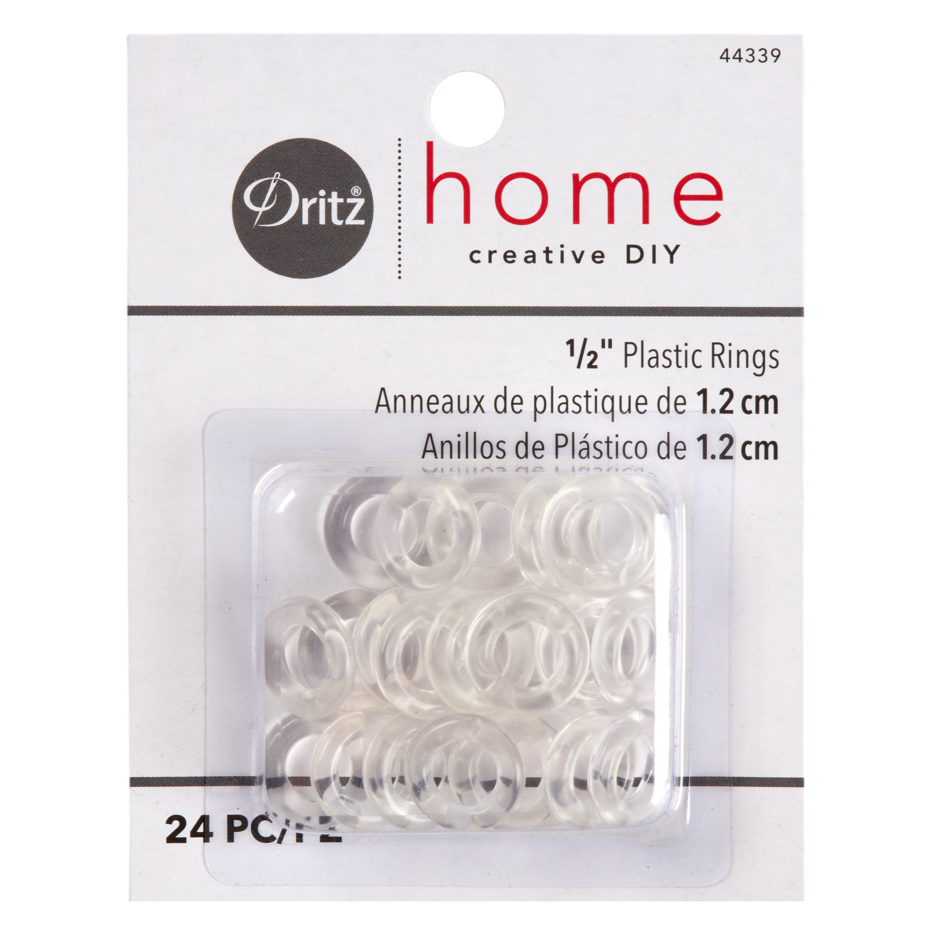Dritz Home 1/2'' Plastic Rings 24/Pkg-Clear by Notions Marketing in USA