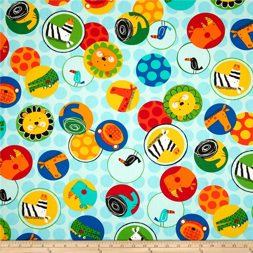 Jungle Creatures Animal Bubble Collage Bright