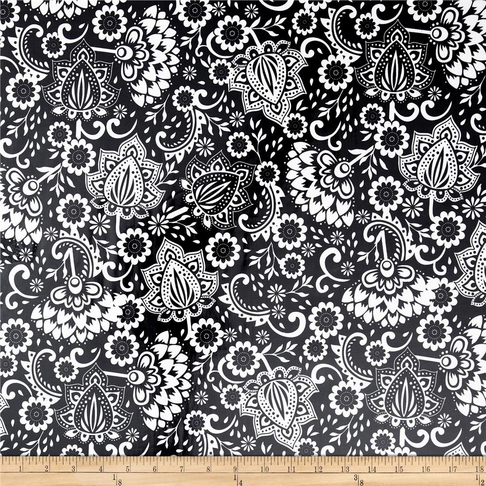 Riley Blake Evening Blooms Laminated Cotton Large Floral Black