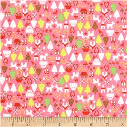 Christmas Time North Pole Ditsy Hot Pink Fabric
