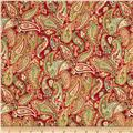 Traditional Metallic Christmas Paisley Red