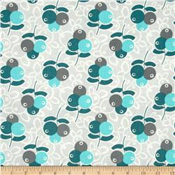 Aunt Grace Ties One On Round Flowers Grey/Teal/Green