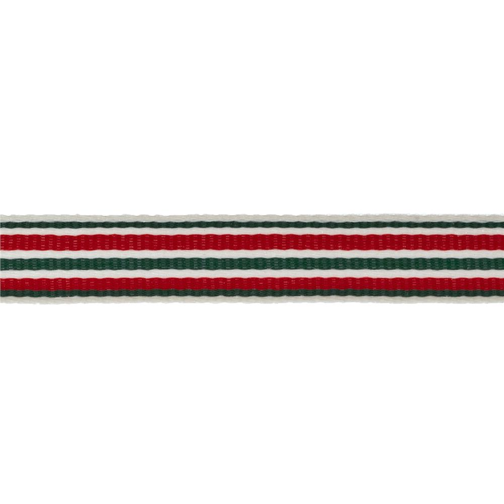 "1/2"" Twill Tape Stripes Red/Green/Ivory"
