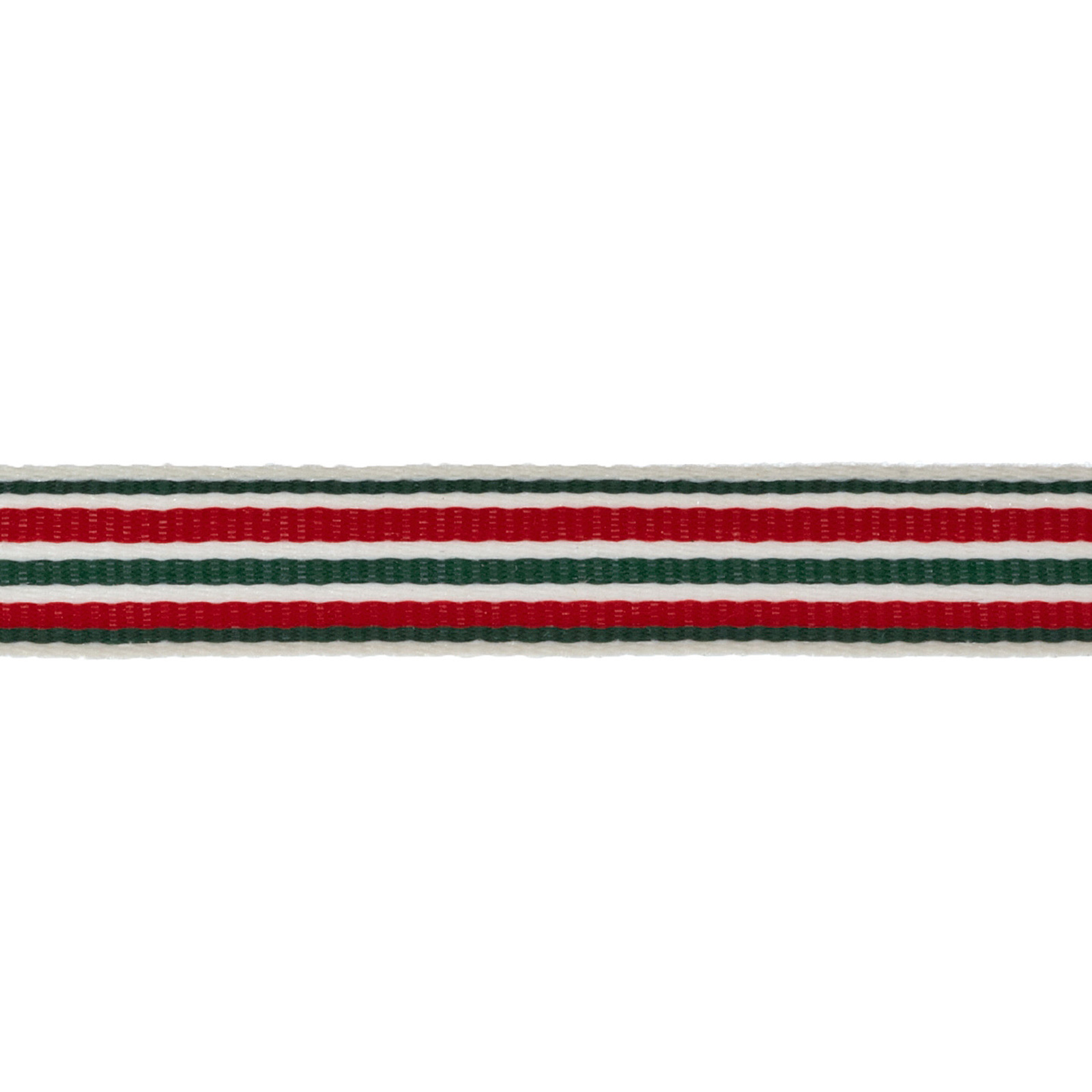 1/2'' Twill Tape Stripes Red/Green/Ivory