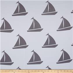 RCA Blackout Drapery Fabric Sailboats Grey