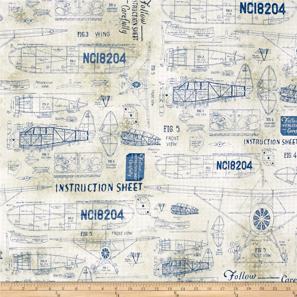 Tim holtz eclectic elements model airplanes blue for Airplane print cotton fabric