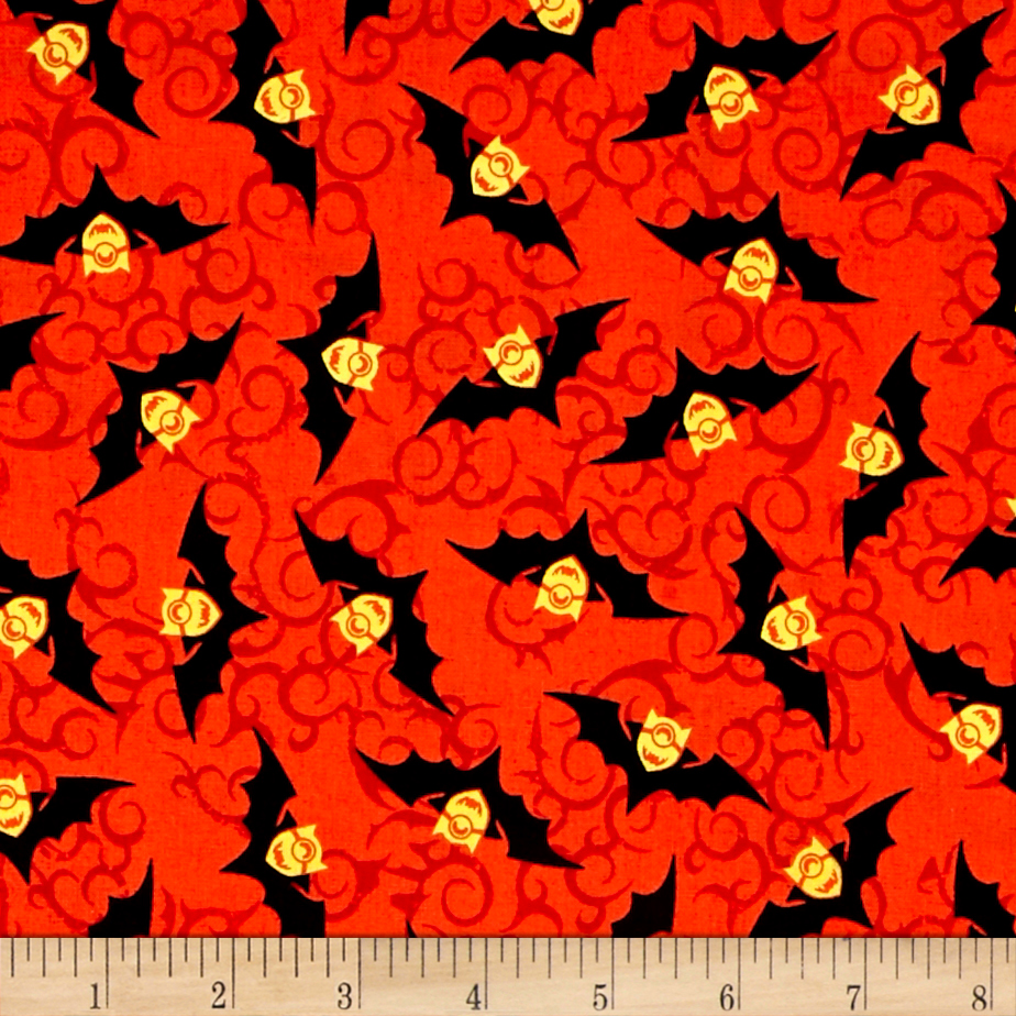 Bite Me Minion Bats Red Fabric by Quilting Treasures in USA