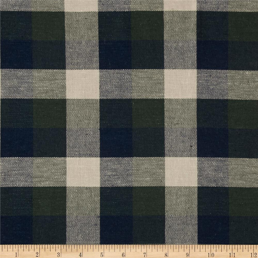 Yarn Dyed Flannel Plaid Navy/Green/Oat